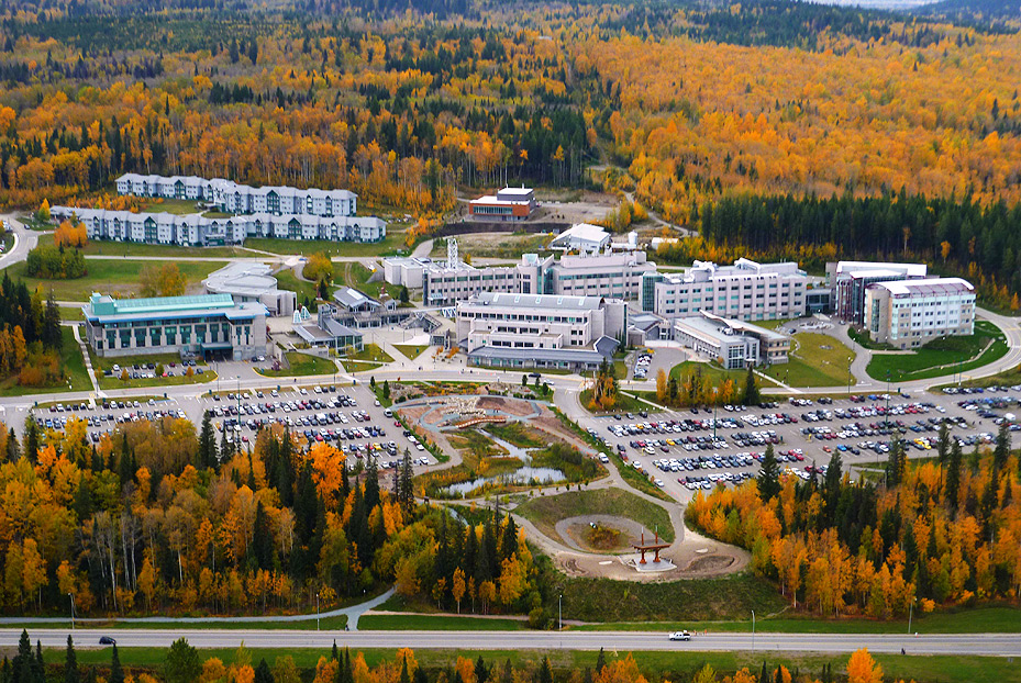 Aerial photo of UNBC campus